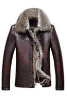 Мужская кожаная куртка с мехом (есть большие размеры) 2 цвета