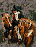 """Схема для вышивки нитками """"Три Лошади"""""""