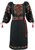 Платье вышиванка. Черный лен. Вышивка крестиком. Расцветка нити и ткани может быть выбрана под заказ