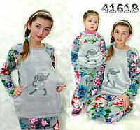 Детская махровая пижама,теплая, серый цвет.