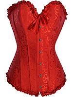 Женский красный корсет на шнуровке