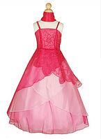 Длинное нарядное платье из  органзы  2-16 лет (5 цветов)