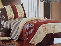 Сатиновое постельное белье евро ELWAY Орнамент на полоске