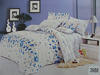 Сатиновое постельное белье евро ELWAY Васильки на белом