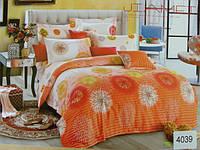 Сатиновое постельное белье евро ELWAY Оранжевые одуванчики