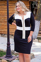 Платье БАТАЛ черно-белое