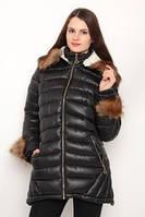 Куртка стеганная с карманами и отороченная мехом