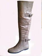 Ботфорты женские кожаные низкий ход модные