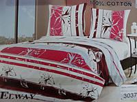Сатиновое постельное белье полуторка ELWAY Абстрактная лилия