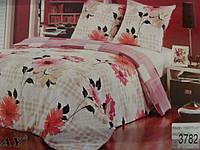 Сатиновое постельное белье полуторка ELWAY Цветы на бежевом