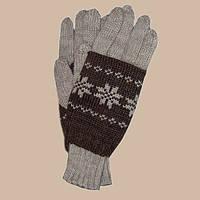 Вязаные перчатки с митенками c норвежскими орнаментами