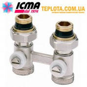 ICMA арт. 897 - Двухтрубный прямой вентиль (типа *Бинокль*) для подключения панельного радиатора с нижним подключением