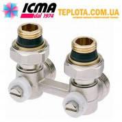 ICMA арт. 913 - Двухтрубный угловой вентиль (типа *Бинокль*) для подключения панельного радиатора с нижним подключением