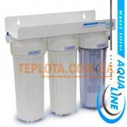 Проточный бытовой фильтр  Aqualine Standart Stage 3 (Аквалайн Стандарт Стейдж 3 трехступенчатый подмоечный)