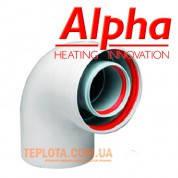 Коаксиальный  уголок ALPHA 90°, диаметр 60-100, для газовых котлов Alpha и Immergas