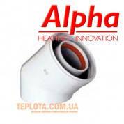 Коаксиальный  уголок ALPHA 45°, диаметр 60-100, для газовых котлов Alpha и Immergas