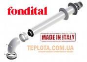 Коаксиальная труба с наконечником, угол 90*  FONDITAL,  длина750 мм, диам. 60-100, для конденсационных котлов ФОНДИТАЛ