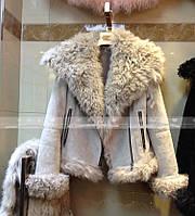 Кожаная женская меховая куртка-дубленка 4 цвета
