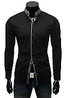 Черная мужская рубашка с латками