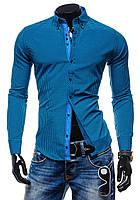 Мужская рубашка в клетку голубая