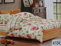 Сатиновое постельное белье полуторка ELWAY Цветочки+клеточки