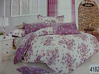 Сатиновое постельное белье полуторка ELWAY Фиолетовый луг