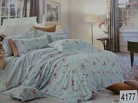 Сатиновое постельное белье полуторка ELWAY Цветочки на голубом