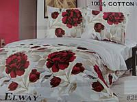 Сатиновое постельное белье полуторка ELWAY Розовые ветки