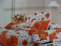 Сатиновое постельное белье полуторка ELWAY Подсолнухи