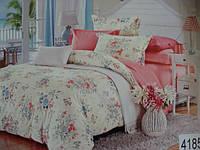 Сатиновое постельное белье полуторка ELWAY Цветочки