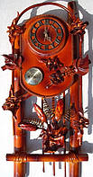 Часы из натуральной кожи и бамбука с барометром