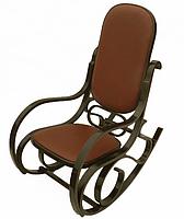 Кресло-качалка темная,коричневая,кожа