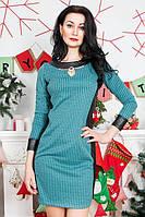 Женское платье со вставками кожзама в гусиные лапки, фото 1