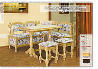 Кухонный уголок из дуба, без стола и табуретов, (Мебель-Сервис)