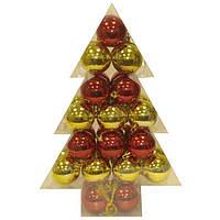 Набор шаров золото и красный 34 штуки