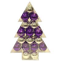 Набор шаров серебро и фиолетовый 34 штуки