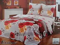 Сатиновое постельное белье семейное ELWAY Разноцветные розы