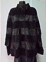 Шуба из каракульча коричневая стойка с норкой съёмный рукав длина 75см;52р;54р