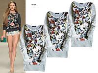 Женская туника-свитер с цветами ,цветочний свитер ,свитер с цветами,свитер с принтом цветочним