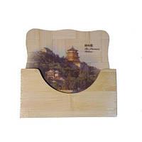 """Подставка под кружку бамбуковая набор """"Знаменитые китайские достопримечательности"""""""