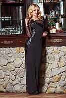 Длинное вечернее платье цвета ночи с оригинальными кожаными вставками и рукавами с гипюра