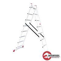 Лестница алюминиевая 2-х секционная универсальная раскладная 2*8ступ. 3.69м