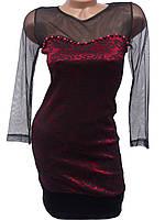 Платье с рукавами-сеточкой (42,44)