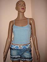 Майка - топ джинсовая со шнуровкой XL