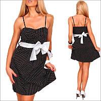 Черно белое платье с бантом, нарядное платье
