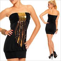 Черное платье с пайетками, вечерние платья
