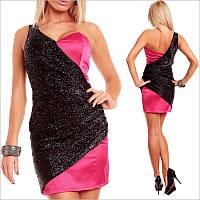 Вечернее черно-розовое платье, короткое женское платье