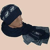 Мужская вязаная шапка-носок,  шарф-петля и  варежки c норвежскими орнаментами
