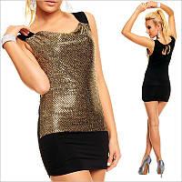 Черно-золотое мини платье, облегающее платье