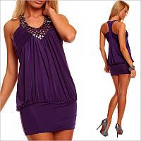 Фиолетовое платье с камнями, короткие женские платья